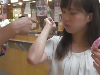 Petite Japanese Girl Sucks Big Ice Cream In Public