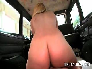Slutty Blonde Riding The Sex Bus Fucks Huge Dick In 3some