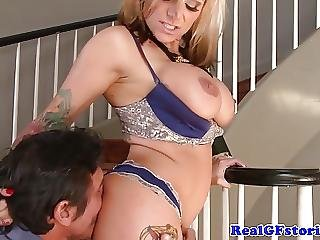 Alternative tattooed milf banged on staircase 9