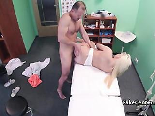 Natural Tits Blonde Fucks Doctor