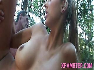 Cum On Ass On Young Stepdaughter Outdoors After Having Long Wet Pussy Fuck