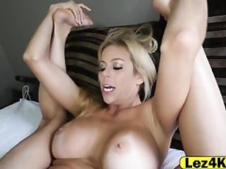 Pretty Blonde With Sexy Arm Tattoo Sneaked On Busty Milf Roommate