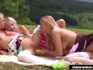 Blonde teens toy twats outdoors