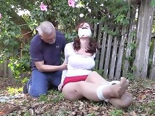 Housewife Tries To Escape, Then Hogtied Outside