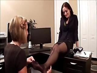 Blonde Worships Colleague S Freshly Pedicured Feet In Black Pantyhose - More On Sweetnylonfeet.com