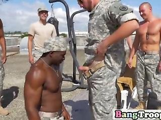Soldiers Get Together At A Beach Front For Some Excercise As They Heat Themselves Up For Some Hot Action Indoors In An Interracial Orgy