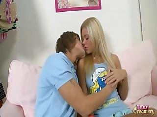 Super Hot Petite Blonde Teen Takes On Huge Dick And Get Face Full Of Cum