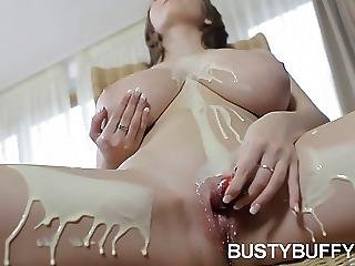 Busty Buffy Teen Massaging Her Juggs And Pussy