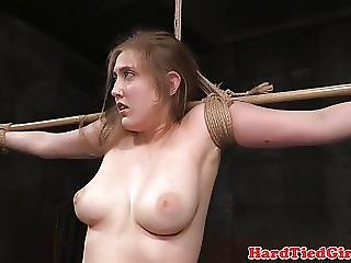 Busty Bdsm Sub Tied Up And Whipped