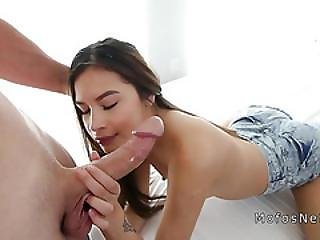 Petite Teem Sucks And Fucks Huge Cock