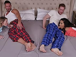 Teen Girls Cara And Adrian Ended Up Their Hand Wrapped Around Each Others Dads Dicks!