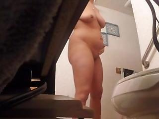 Amateur, Ass, Aunt, Big Ass, Big Tit, Brunette, Shower, Stripping