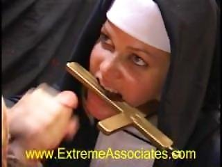 Sexy Nun Barrett Moore Drinks A Huge Cum Load Right Off Her Crucifix!