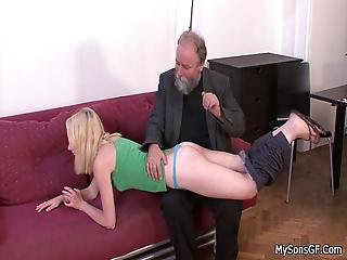 His Cheating Girlfriend Spreads Legs For Old Man