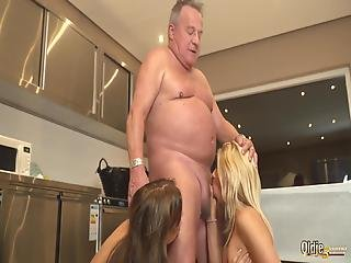 Fat Grandpa Fucks Skinny Teens Cums In Their Mouths