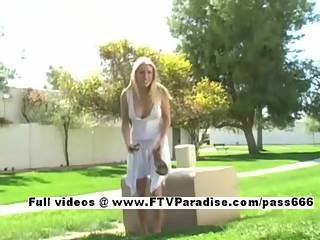 Amazing Girl Allison Shy Blonde Girl Public Toying And Posing