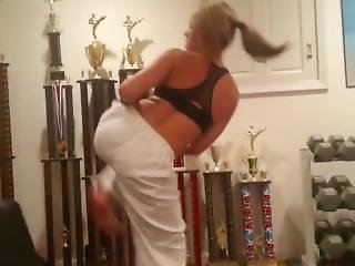 Karate Girl Hot Workout On Punching Bag