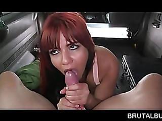 Sexy Redhead Sucks Dick Like A Slut In The Bus