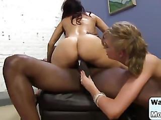 Curvy Brunette Mom Dancing In Front Of Big Black Cock