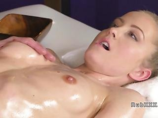 Skinny Blonde Got Oil And Pussy Massage