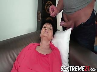 Naughty Granny Bent Over And Fucked By Younger Stud! Anastasia Is A Super Horny Grandma That Is Always Ready To Suck And Fuck!