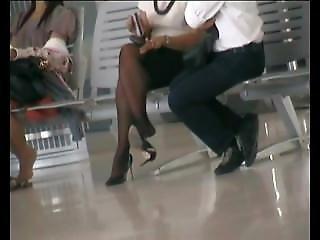 Sexy Asian Dangling Heels Public