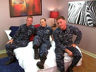 Sexy Navy Girl Fucks Her Sailors