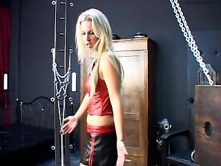 Latex Mistress Whips Tied Up Rubber Sissy Slave In Dungeon