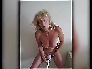 Granny Standing Hitachi Orgasm