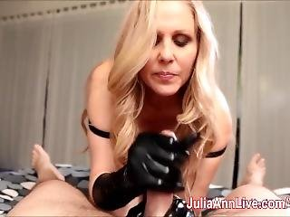 Gives Handjob With Latex Gloves!