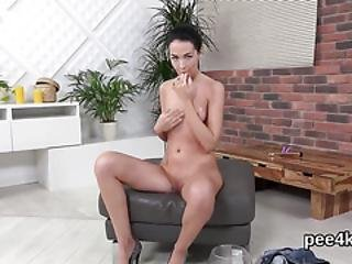 Ravishing Nympho Is Peeing And Pleasuring Smooth Pussy