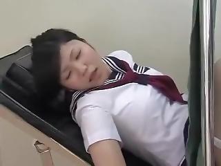 asiatisk, krem, creampie, doktor, knulling, små pupper, Tenåring, uniform, ung