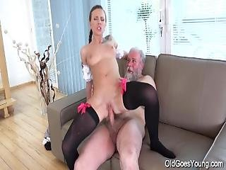Old Goes Young   Slim Teen In Lacy Stockings Jumps On An Old Dick