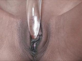 Chilli (close Up Ice Fetish Play Frozen Glass Dildo )