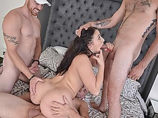 Mandy Muse Opens Her Leg For Three Large Penises