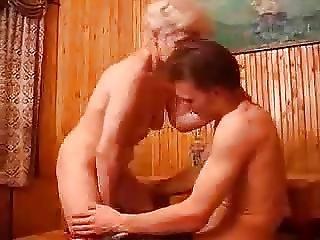 Blonde Granny Gets A Creampie