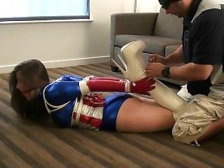 Terra Mizu As Patriot Girl, Bound & Gagged In White Boots (tied In Heels)