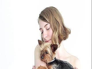 Hot Naked Blonde Cuddling Her Puppy