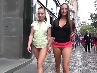 Czech Girls Bottomless Stroll Through Town