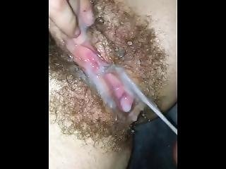 Hairy Pussy Multiple Orgasms With A Hard Squirt! Pussy Gets Covered In Cum
