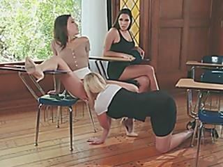 Busty Stepteen Watches Her Stepmom Licking Her Asian Teacher