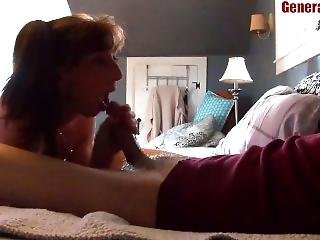 Petite Milf Swallows And Keeps Sucking