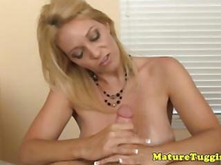 Classy Tugging Milf With Huge Monster Boobs