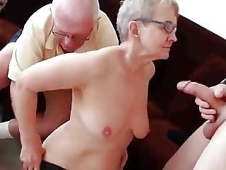 Old Lady Enjoying Cock