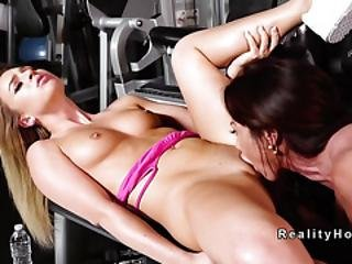 Toned Busty Mom Licks Teen At The Gym