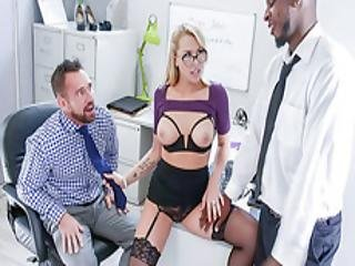 Secretary In Threesome Office Rimming