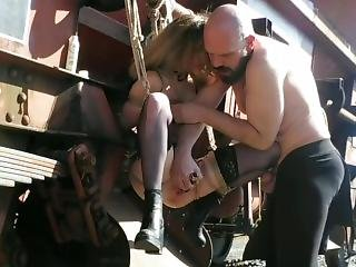 Teeen Blonde Tied To A Train, Creampie And Squirt