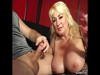 Busty Mom Gives Blowjob And Smokes Cigarette