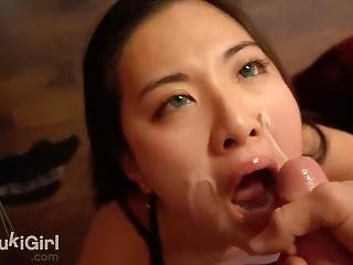 Soaked Her Face In Cum! Asian Sucks Cock Like A Goddess @sukisukigirl Pov