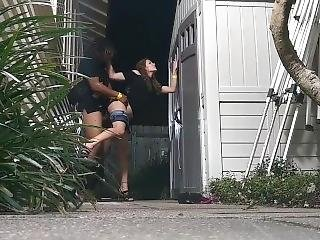 Dirty Couple Gets Caught Fucking Outside On Frat House Security Camera